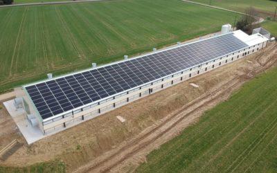 Construction d'un bâtiment avicole équipé de panneaux solaires